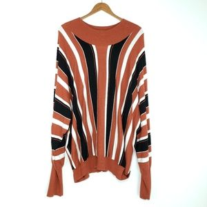Leith Stripe Long Sleeve Sweater Top Knit